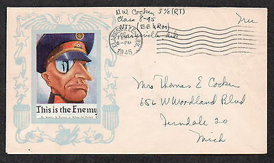 **US WWII Patriotic Cover, Clarksville, AR 2/6/1945 Free + Victory Poster Stamp