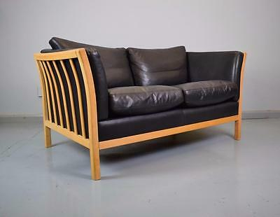 Mid Century Retro Danish Black Leather Stouby 2 Seater Sofa Couch Loveseat 1970s