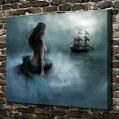 "Oil Painting HD Print On Canvas Wall Decor Art,Mermaid Galleon 12X16""/Unframed"