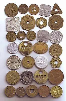 Lot of 31 Foreign Transportation Tokens