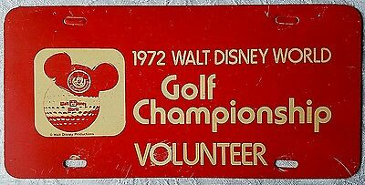 Very Rare 1972 Walt Disney World Golf Championship Volunteer License Plate