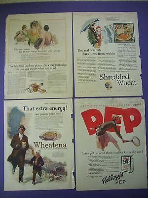 4 Big 1920's Food Cereal Print Ads: Grape Nuts, Shredded Wheat, Wheatena, Pep