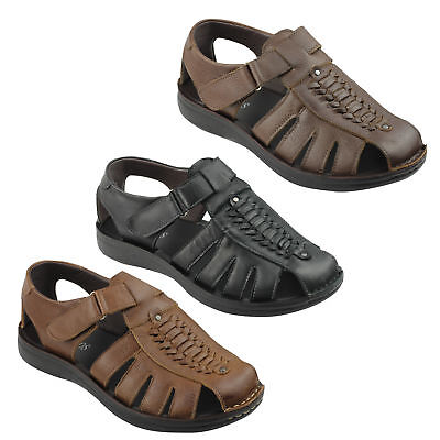 New Mens Leather Strap Fasten Beach Summer Holiday Walking Sandals Shoes UK Size