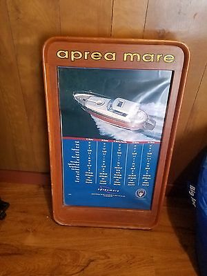 "Vintage Teak Wood Boat Sign 2 Sided Aprea Mare Yachts Advertising 22""X36"" Nice"
