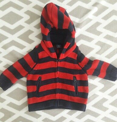 Baby Gap Red and Navy 100% Cotton Knit Hoodie Size 3-6 Months