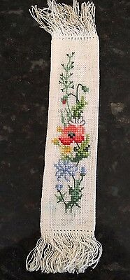 Beautiful Vintage BOOKMARK Embroidered Hand Made