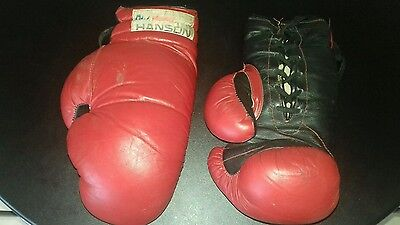 Vintage hanson leather laced boxing gloves