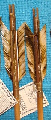 2-TWO Handmade Navajo Arrows w/Matching Tan feathers & Stone chipped Arrowheads!