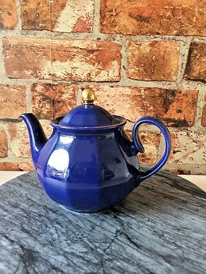 Wade Small Teapot in Blue & Gold on Lid and Rim of the Pot Classic Teapot