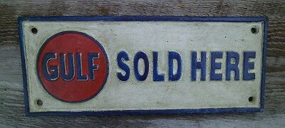 Gulf Motor Oil Sold Here Sign Cast Iron Advertising Sign Plaque Antique Gas Oil