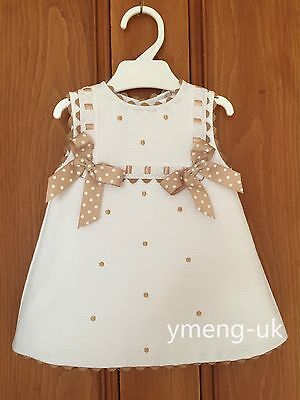 Beautiful Wee Me Baby's Girl Spanish Dress with Tan Details/Polka dot Beige Bow