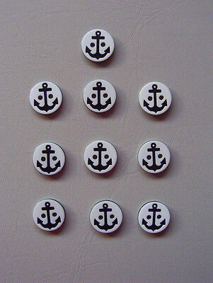 BUTTONS - 12mm ROUND 2-HOLE ANCHORS - WHITE & BLACK - NOVELTY CRAFT SEWING