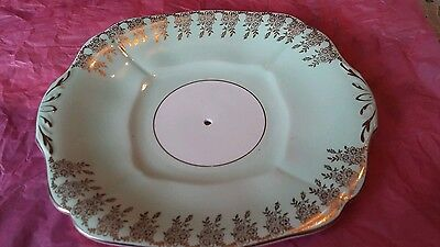 Adderley. Fine Bone China. Made in England. Green. Oval Plate Dish Cake Stand.