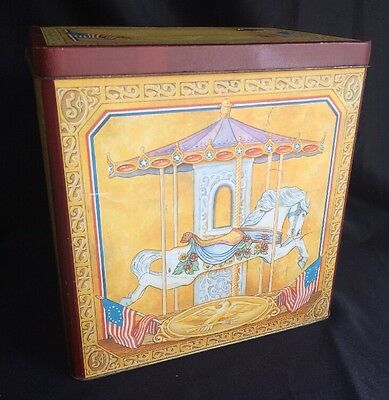 Willitts Vintage Collectible Large Carousel American Flag Tin Melodies