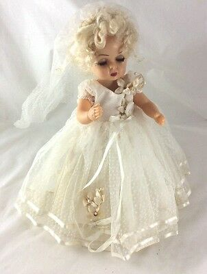 "Vintage TERRI LEE 1950's 10"" Doll Blonde Hair Tagged Bridal Dress /1 Extra Dress"