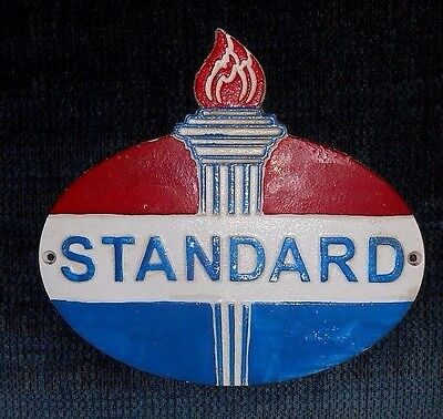 """STANDARD GASOLINE OIL DEALER'S WALL MOUNTED PLAQUE SIGN Cast Iron w Torch 10"""""""