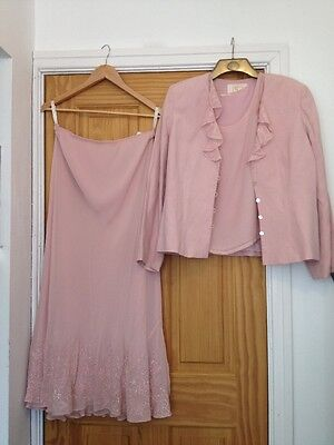 Pink Silk & Linen Skirt Suit By Country Casuals - Size 16 Mother Of The Bride
