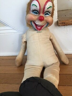 Antique Vintage Carnival Creepy Clown Doll Scary With Teethe