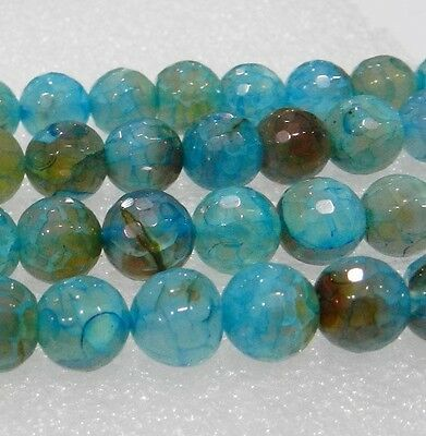 """8mm Faceted Blue Dragon Veins Agate Round Loose Bead 15""""##QF3119"""