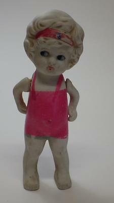 """c1930s Vintage Ceramic Bisque Doll Moving Arms 5"""" tall Made in Japan"""
