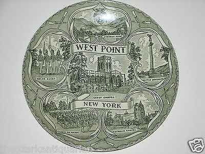 West Point New York Plate vintage old green transferware FREE SHIPPING