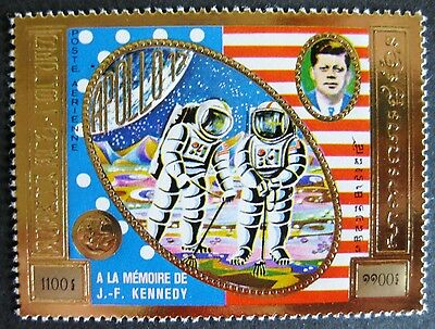 Cambodia (Khmer Rep.) 1974: Pres Kennedy & Apollo 11 Stamp (embossed on gold)