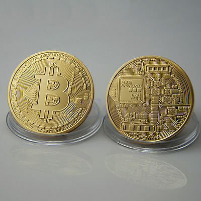MONEDA 1 BITCOIN FISICA 40mm 29gr COLECCIONABLE CASASCIUS COLOR ORO GOLD SC UNC