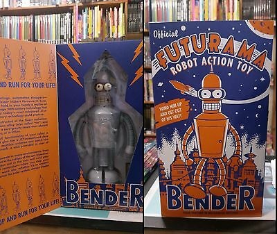 Official Futurama Robot Action Toy Bender Wind up Tin Toy NEW IN BOX 2000