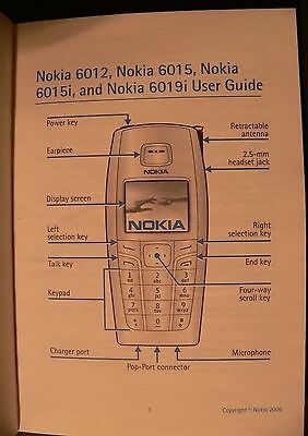 Nokia 6012, 6015, 6015i, 6019i Users guide cell phone manual