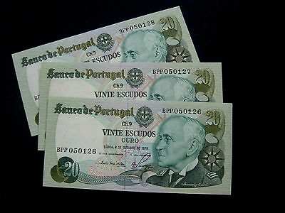 Portugal Banknote 20 Escudos 4/10 1978 Trio Running Numbers Unc