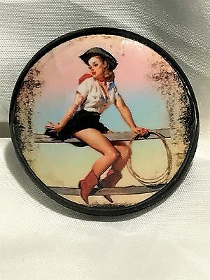 Vintage Wooden Drawer Pull Knob with Cowgirl Art Decal