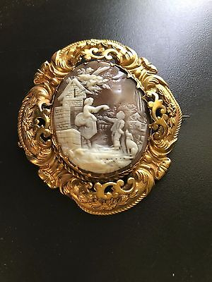 Lovely Large Antique Shell Cameo Brooch Scene of Lady Boy Dog Ornate Frame