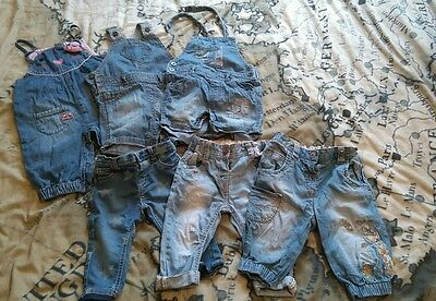 girls denim bundle dungarees and jeans. size 6-9 months