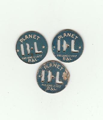B & L Planet Patented June 12th 1877 Tobacco Tags