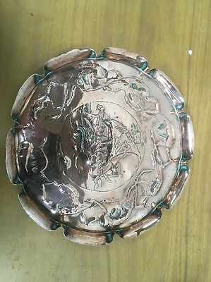 Stunning Arts And Crafts Copper Viking Ship Tray