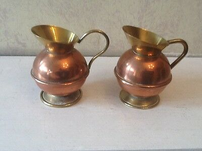 Pair Of Vintage Copper And Brass Small Jugs
