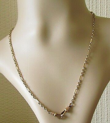 Vintage 9ct Yellow Gold Double Swivel Clasp Figaro Chain (18 inches).