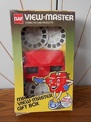 MR VIEW-MASTER GIFT BOX vintage toy viewer with 5 discs GAF VIEWMASTER Model J