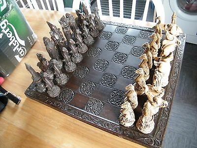 Gothic style Wizards and Dragons Fantasy Chess Set with board