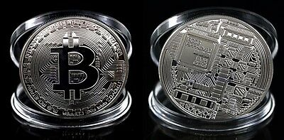 1X PHISYC BITCOIN CRYPTOCURRENCY 40mm 29gr UNCIRCULATED NEW MINT SILVER COLOUR!!