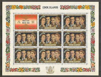 Cook Islands #284, 1970 Visit of the British Royal Family, Sheet Unused NH