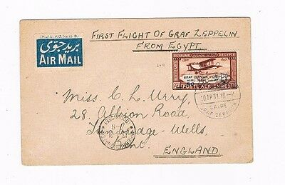 First Flight of Graf Zeppelin from Egypt postcard Sieger 105A with  Egypt C3