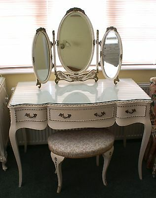 Louis XV Style Dressing Table with Tri-Fold Mirror and Stool in Antique White