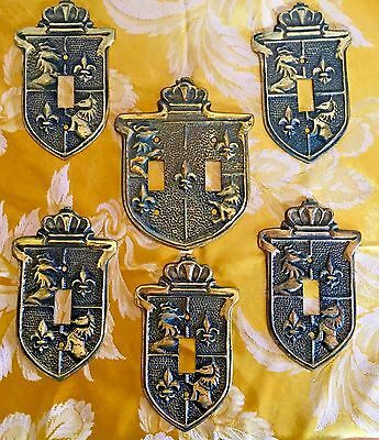 6 Vintage 1950s Brass Shield Coat of Arms Lion English Light Switch Covers