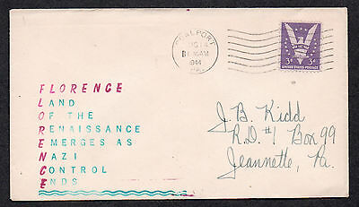 """**US WWII Patriotic Cover, Coalport, PA 8/14/1944 """"Florence"""" Hand Painted Cachet"""