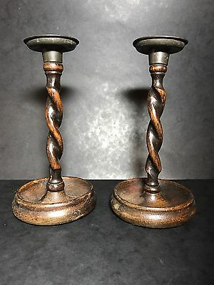 Pair Antique slender stem BARLEY TWIST OAK CANDLESTICKS - C1900