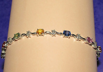 BEAUTIFUL 18CT WHITE GOLD MULTI COLOURED SAPPHIRE & DIAMOND LINE BRACELET 17.5cm