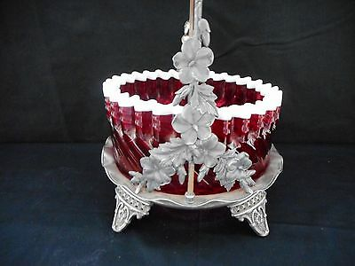 Stunning Victorian Large Brides Basket Cranberry Glass Hartford Silver Plate