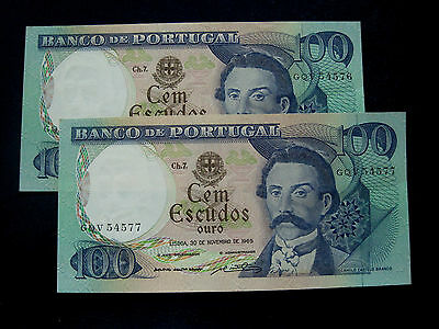 Portugal Banknote 100 Escudos 1965 Pair Running Numbers Aunc
