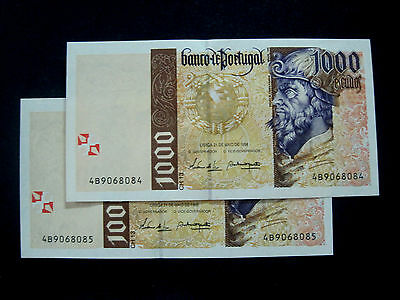 Portugal Banknote 1000 Escudos 1998 Pair Running Numbers Unc